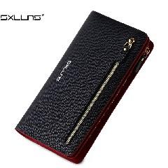 SXLLNS女士钱包头层牛皮卡包长款真皮钱包多功能钱夹手机手包SX-